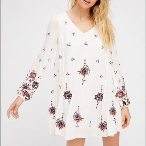 nwt // free people embroidered oxford mini dress